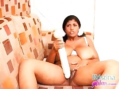 Kristina Milan playing with a huge marital-device