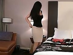 Desiree thoroughly preparing her gazoo and pussy before sex
