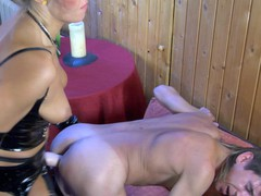 Desirous guy receives his taut butt whipped and plowed by a strap-on armed hottie