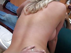 Cute young girl with long blonde hair gets it from behind from a horny dentist. She really enjoys his really hard dick as you can see it from her face. She spread her legs as she gets ready for some pussylicking. Will he fuck her for good or will she be satisfied with just some cunnilingus?