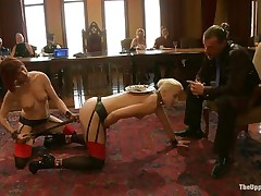 Dylan Ryan is a blonde milf with nice natural tits who likes being an obeying sex slave. The sweet girl loves when someone is inserting wooden poles in her shaved pussy. Watch her sucking on that cock while she gets dildo fucked with roughness from behind. The kneeling babe gags his cock for more pleasure.