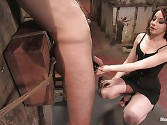 Sexy guy Wolf has his hands tied up by a very hot mistress called Amber. She enjoys attaching weights to his nipples and shaved balls. Then, he gets his tight ass whipped for being such a bad boy. What punishments do you think she has prepared next for him?