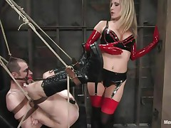 Watch this super sexy blonde mama teaching this bad boy a lesson in hard way. She tied him up and gagged his mouth before fucking his world upside down! She puts on a strap on and fucks him real hard. She also locked his cock so that he can't cum! She keeps teasing his cock and fucking his ass with pleasure!