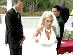 What a hot bride but she has second thoughts about her wedding because she loves to suck and fuck cock so she does this with this stranger while her future husband awaits. This guy starts rubbing her pussy under the wedding dress and makes her horny until she gets down on her knees preparing to suck his dick. Will he fuck her pretty mouth?
