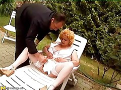 Watch this horny old lady getting crazy and some old guys playing along with her. One of the guy shaved her mature pussy and then the other one comes in to help her out. He fingers her pussy and clitoris pretty well. Then he takes out his cock to get a good blowjob from this mature bbw whore!