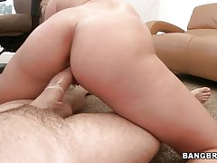 Watch this horny blonde moaning of pleasure while she rides that big hard cock. Look at her perfect ass getting spanked and that dick going in and out of her tight pussy. After that she starts sucking that cock with the condom on and gets her ass back to work. Is he going to cum on her pretty face?