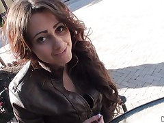 Sexy teen with long curly hair gives blowjob to a random guy met on the street. This man knows how to choose his girls cause this young lady is really a slutty naughty girl on the inside if you know what I mean. Will she get some more of his hard cock?