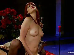 Her long red hair, hawt legs and marvelous face makes this guy want to obey to her devilish wishes so he licks her cunt like a good compliant boy and then bows over with submission to take it unfathomable in his ass. That babe drills his hole with her strap on dildo and makes him moan, what else this mistress has prepared for him?