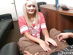 Look at this lewd blonde babe begging for that guys cock. See her taking her raiment down and playing with her sexy mounds while her naughty ass implores for a spank. See how much this babe enjoys having a big hard penis betwixt her hands and how much this babe likes to rub it with oil. Will this guy cum on her big tits?
