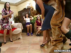 Bear was dancing but the hot women around made him so hot that it jumped out of its skin and started receiving individual attention from the women surrounding him. Therefore, it was no surprise to see his pole is stiff and standing away from his body defying gravity as women continue teasing it