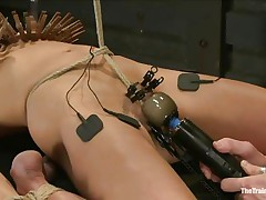 The chap is showing his skills in domination and punishment. This guy putted laundry pliers on this slut's mangos and then suckers on her teats previous to rubbing her clit with a vibrator. After rubbing that vagina valuable and good he hangs her and probably has smth very special for her ass, would you like to watch that?