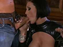 Beauty performs great oral-stimulation before rodeo on piece of meat