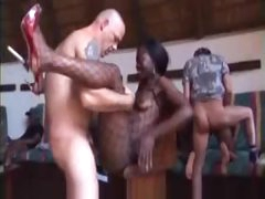 An orgy with lots of black guys and girls