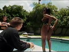 Black tranny eats big pecker poolside