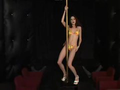 Skinny playgirl works the stripper pole naked