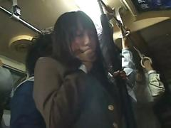 Shy Oriental school girl receives caressed on the train then fucked at home