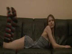Breasty Beata coed teasing on the daybed