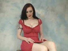 Retro babe in red lipstick hawt striptease