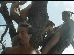 Retro engulf and fuck orgy outdoors in a tree